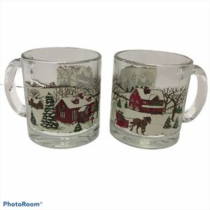 Vintage libbey Christmas Coffee Mugs Clear Glasses